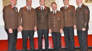Neues und altes Kommando: SF Alexander KÖLL, Alois HEIS, Kdt. Alois MUGLACH, Kdt.-Stv. Harald REINTHALER, Kassier Gerhard MICHALEK, Norbert NOCKER (vlnr)